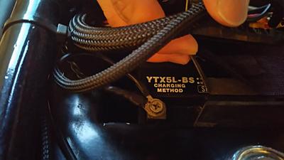 ショベルのバッテリー交換 YUASA YTX5L-BS